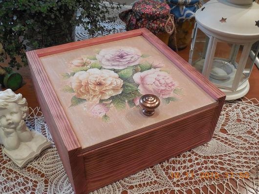 """Корзины, коробы ручной работы. Ярмарка Мастеров - ручная работа. Купить """"Розовое утро"""" короб. Handmade. Розовый, розы"""