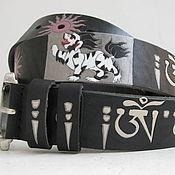Аксессуары handmade. Livemaster - original item leather strap Om (Tibetan). Handmade.