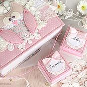 Упаковочная коробка ручной работы. Ярмарка Мастеров - ручная работа Мамины сокровища для девочки (подарок новорожденной). Handmade.