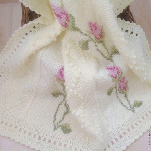 Пледы и одеяла ручной работы. Ярмарка Мастеров - ручная работа. Купить Детский вязаный плед-покрывало Нежные Розы тунисское вязание+вышивка. Handmade.