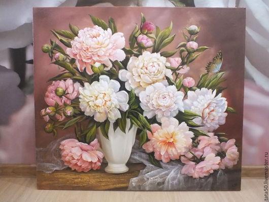 """Картины цветов ручной работы. Ярмарка Мастеров - ручная работа. Купить """" Весна. Пионы"""". Handmade. Бледно-розовый"""