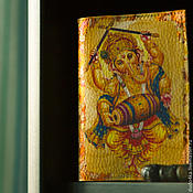 """Канцелярские товары ручной работы. Ярмарка Мастеров - ручная работа Кожаная обложка для паспорта """"Ганеша"""".. Handmade."""