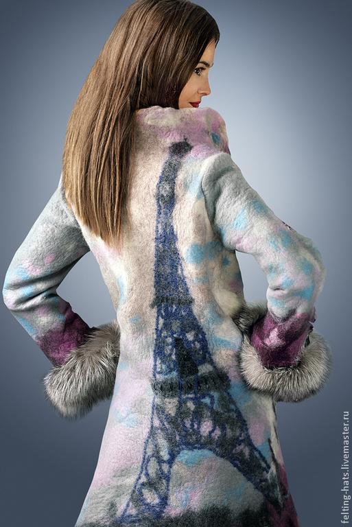 Верхняя одежда ручной работы. Ярмарка Мастеров - ручная работа. Купить Пальто валяное Звуки Парижа. Handmade. Нуно войлок