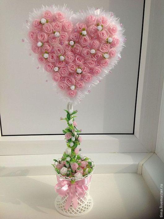Сердечко топиарий дерево счастья дерево любви розовый белый подарок на свадьбу на годовщину свадьбы подарок любимым для фотосессии для интерьера Наталья Бабынина
