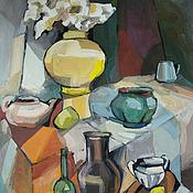 Картины и панно handmade. Livemaster - original item Picture.Still life with jug and yellow vase. Handmade.