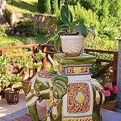 Винтаж handmade. Livemaster - original item Ceramic interior elephant.Stand for flowers.. Handmade.