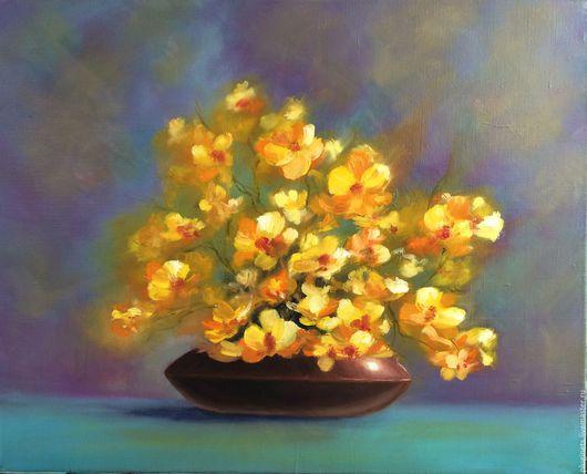 Картины цветов ручной работы. Ярмарка Мастеров - ручная работа. Купить Солнечное настроение. Handmade. Комбинированный, букет, желтые цветы