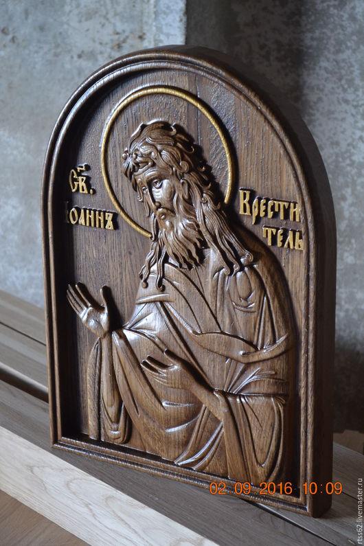 Иконы ручной работы. Ярмарка Мастеров - ручная работа. Купить икона Иоанн креститель. Handmade. Резная икона, Дуб, краск