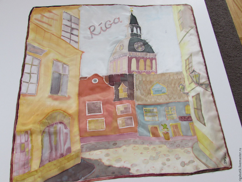 Batik shawl Riga. Natural silk. Original painting, Shawls1, Riga,  Фото №1