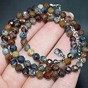 Работы для детей, handmade. Livemaster - original item Natural petersite beads ( petersite ) with cut. Handmade.