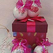 Подарки к праздникам ручной работы. Ярмарка Мастеров - ручная работа Н-р шаров на ёлку в стиле шебби-шик. Handmade.