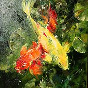 """Картины и панно ручной работы. Ярмарка Мастеров - ручная работа """"Карпы Кои"""" (картина маслом).. Handmade."""