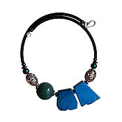 Украшения handmade. Livemaster - original item Necklace of large stones pyrite and ceramics. Handmade.