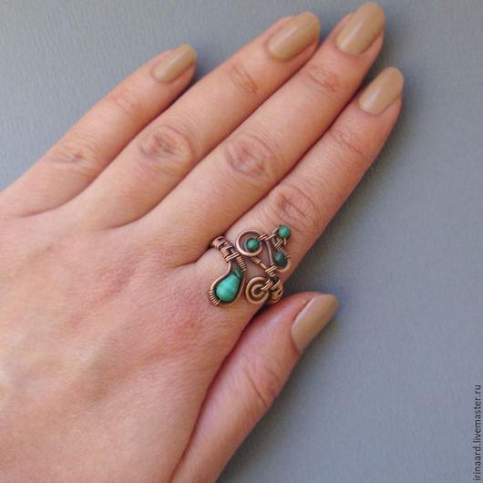 Кольца ручной работы. Ярмарка Мастеров - ручная работа. Купить Медное кольцо с малахитом. Handmade. Тёмно-зелёный, малахит кольцо