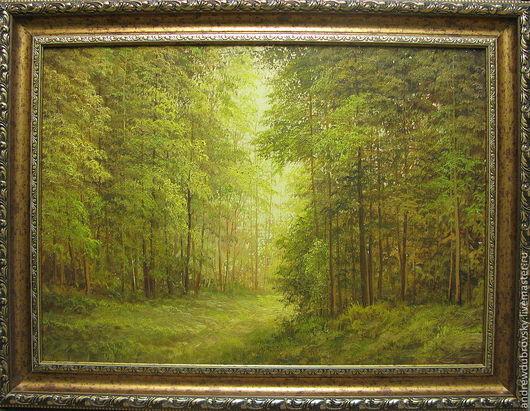 Пейзаж ручной работы. Ярмарка Мастеров - ручная работа. Купить Хвойный лес. Handmade. Зеленый, хвойный лес, на новый год, холст