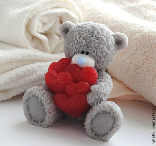 Мыло цветное `Мишка Тэдди с сердцами`