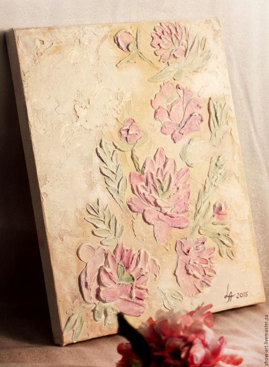 """Картины цветов ручной работы. Ярмарка Мастеров - ручная работа. Купить """"Пионы"""" Интерьерная картина. Handmade. Бледно-розовый"""