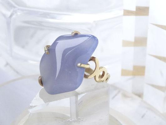 Кольца ручной работы. Ярмарка Мастеров - ручная работа. Купить Серебряное кольцо с голубым халцедоном. Handmade. Голубой, природный камень