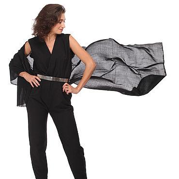 Accessories handmade. Livemaster - original item Black cashmere stole with embossed pattern. Handmade.