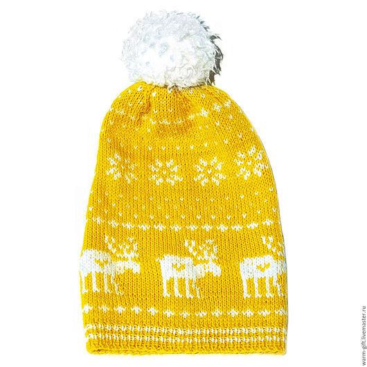 """Комплект """"Желтый олень"""" (01-14) Set """"Yellow deer"""" (Hat and mittens) (01-14) В комплекте: шапка (длинна до помпона 34 см) 1 шт. и митенки (23 х 10 см) 2 шт. Цена 3500 руб. (45 EUR)"""