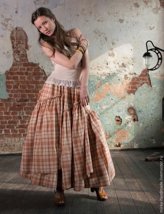 Юбки ручной работы. Ярмарка Мастеров - ручная работа. Купить Рыжая клетчатая юбка в бохо-стиле. Handmade. Рыжий