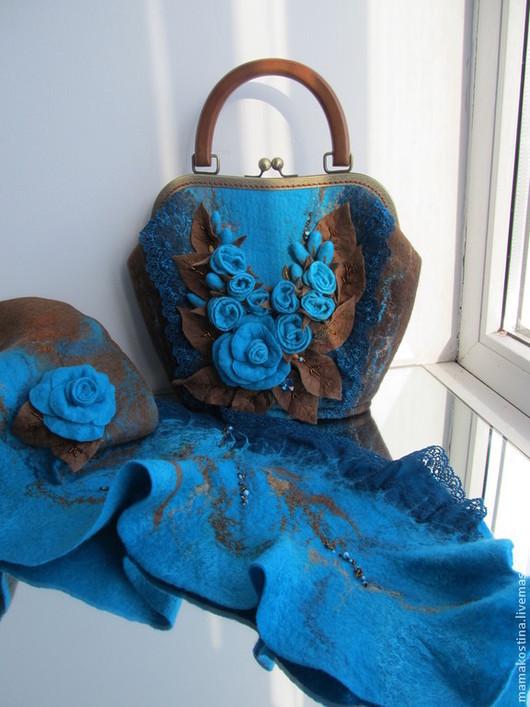 """Женские сумки ручной работы. Ярмарка Мастеров - ручная работа. Купить """"Счастливая"""" 3. Handmade. Бирюзовый, сумка из войлока, войлок"""