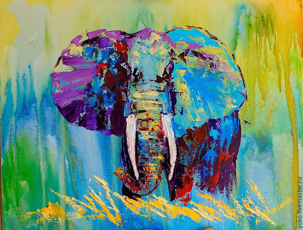 """Multicolor Francoise Nielly Portraits Handmade Oil: Elephant Painting """"in A Hot-hot Africa"""""""