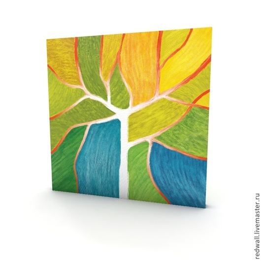 Абстракция ручной работы. Ярмарка Мастеров - ручная работа. Купить Mandarin Leafs 60x60. Handmade. Желтый, дерево, листва, Пазл