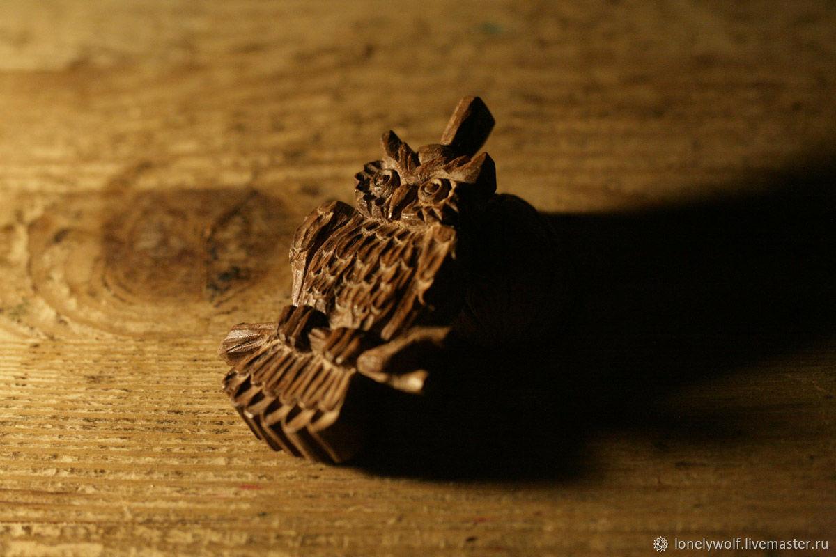 """Резной кулон """"Совушка"""" из древесины ореха, Кулон, Удельная,  Фото №1"""