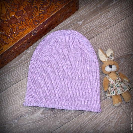 Шапки и шарфы ручной работы. Ярмарка Мастеров - ручная работа. Купить Вязаная шапка детская. Handmade. Бледно-сиреневый