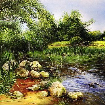 Картины и панно ручной работы. Ярмарка Мастеров - ручная работа Пейзаж с рекой. Handmade.