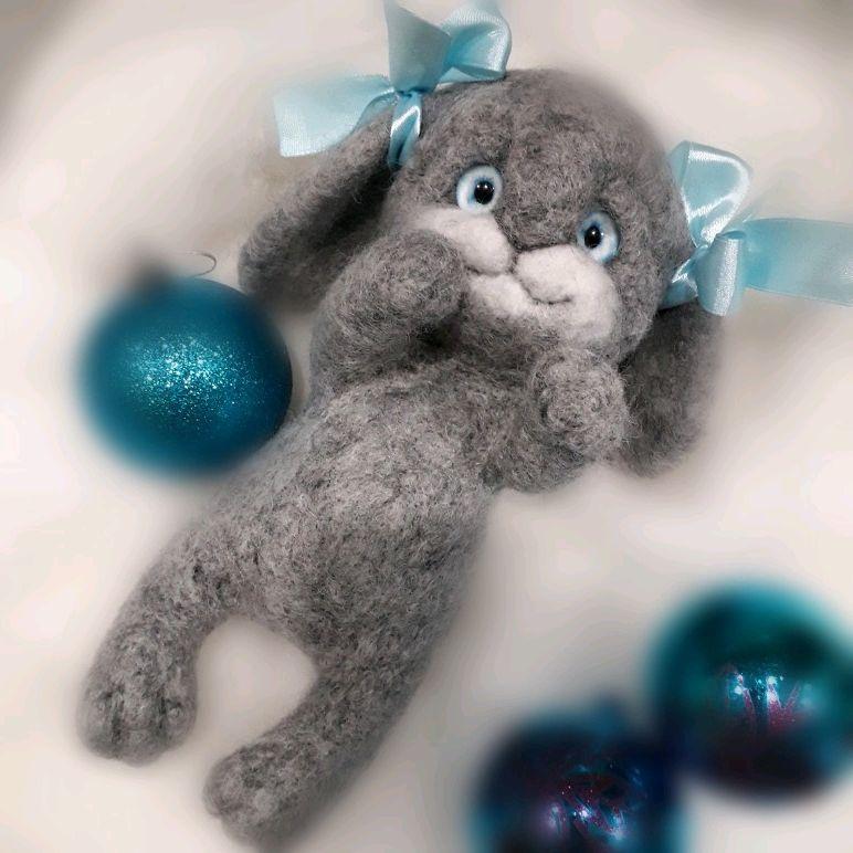 Заяц серенький валяный, Игрушки, Владикавказ, Фото №1