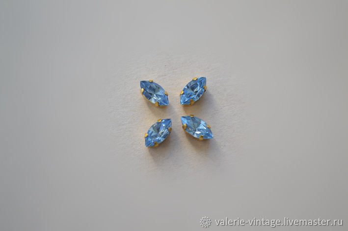 Винтажные кристаллы Swarovski 8х4 мм цвет Lt. Sapphire, Материалы, Москва, Фото №1