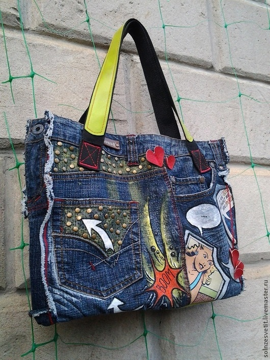 Джинсовая сумка `Комиксы`