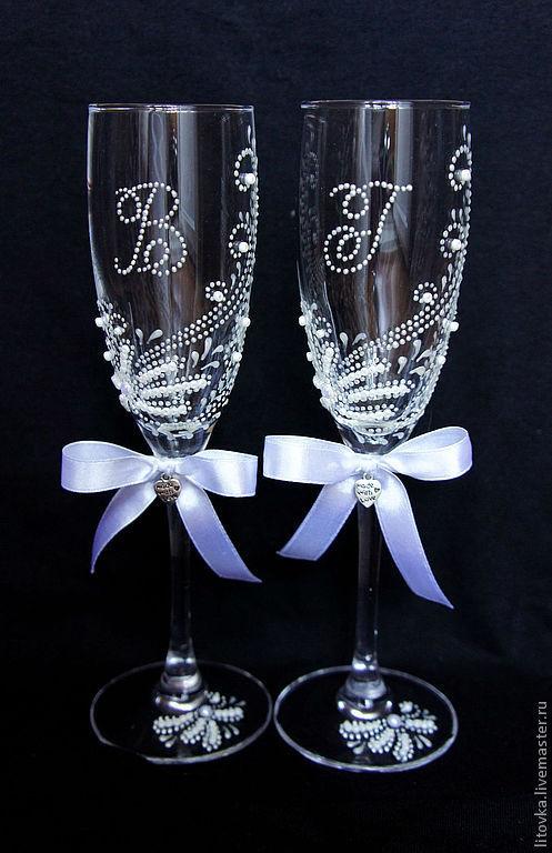 Свадебные бокалы с инициалами, Бокалы свадебные, Москва,  Фото №1