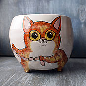 "Посуда handmade. Livemaster - original item ""Рыжий кот и сосиски"" чашка с ножками (0161). Handmade."