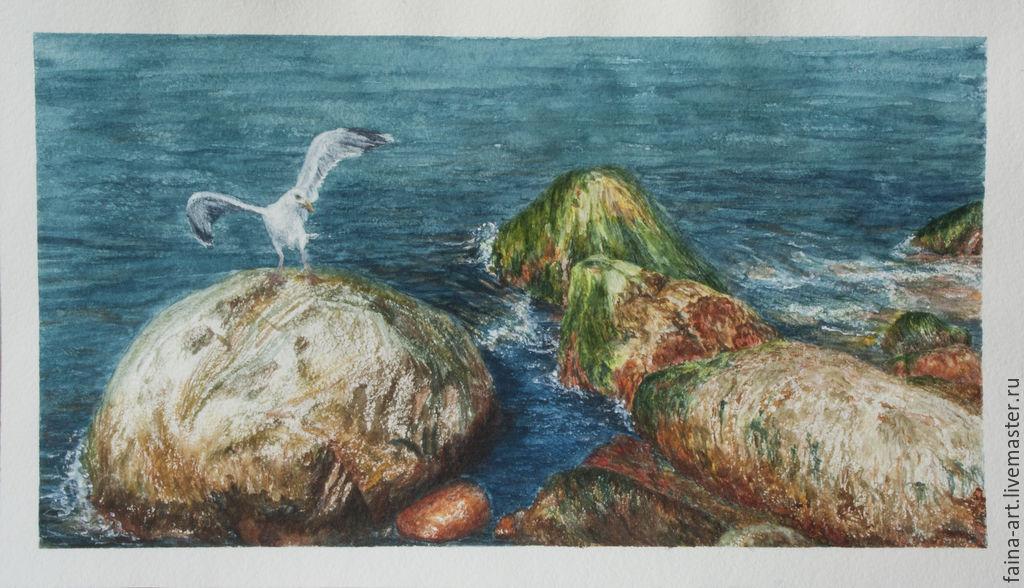 Landscape watercolor 'Svetlogorsk, stones, sea', Seagull, watercolor, Pictures, Novosibirsk,  Фото №1