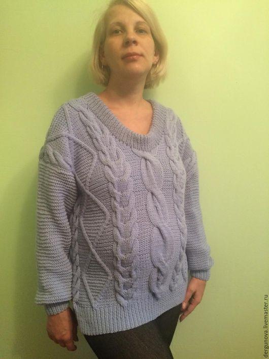 Кофты и свитера ручной работы. Ярмарка Мастеров - ручная работа. Купить Пуловер. Handmade. Голубой, одежда, вязаный пуловер, шерсть