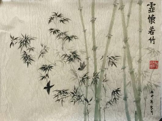 Пейзаж ручной работы. Ярмарка Мастеров - ручная работа. Купить Среди бамбука (китайская живопись). Handmade. Китайская живопись, салатовый