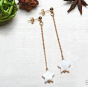 Украшения handmade. Livemaster - original item Long earrings with mother of pearl