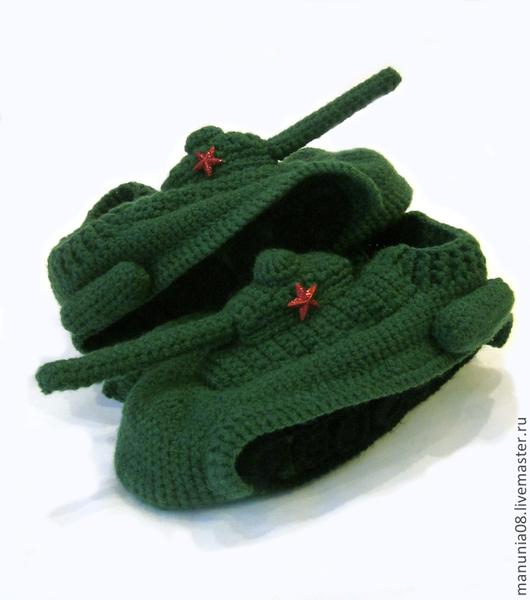 Обувь ручной работы. Ярмарка Мастеров - ручная работа. Купить Тапки танки. Handmade. Тёмно-зелёный, тапки танки