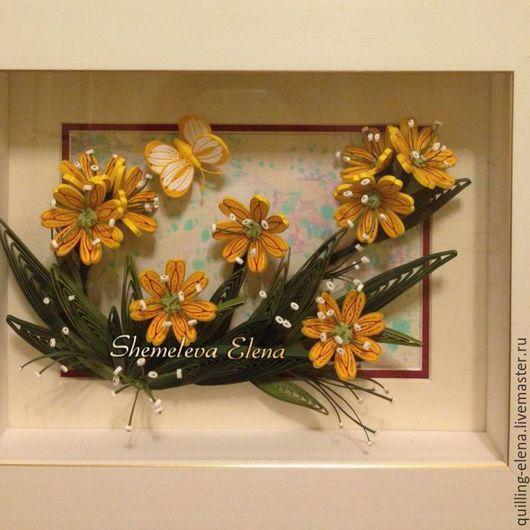 """Картины цветов ручной работы. Ярмарка Мастеров - ручная работа. Купить Картина - панно """"Просто жёлтые цветочки"""". Handmade. Желтый"""