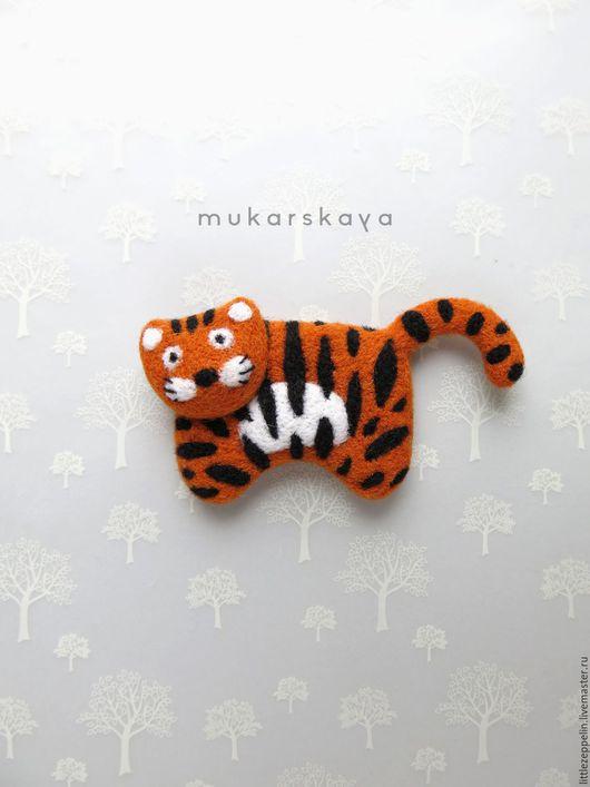 Броши ручной работы. Ярмарка Мастеров - ручная работа. Купить Тигр. Handmade. Брошка, оранжевый, тигренок
