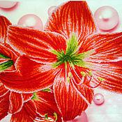 Элементы интерьера ручной работы. Ярмарка Мастеров - ручная работа Картина вышитая Запах лилии с 3D эффектом. Handmade.