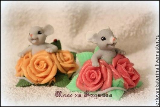 Материалы для косметики ручной работы. Ярмарка Мастеров - ручная работа. Купить Силиконовая форма мышка в розах. Handmade. Бледно-розовый