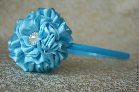 """Диадемы, обручи ручной работы. Ярмарка Мастеров - ручная работа. Купить Ободок """"Голубая мечта"""". Handmade. Голубой, ободок с цветком"""