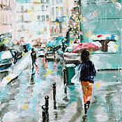 Картины и панно ручной работы. Ярмарка Мастеров - ручная работа Девушка по городу шагает.... Handmade.