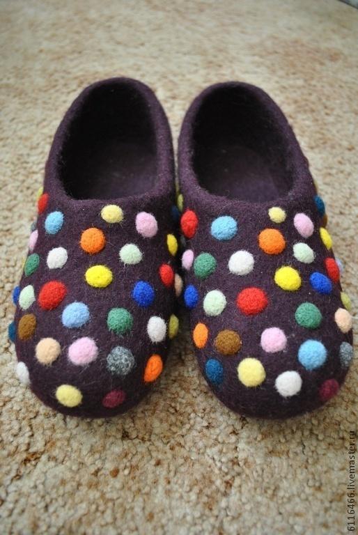 """Обувь ручной работы. Ярмарка Мастеров - ручная работа. Купить домашние валяные тапочки из натуральной шерсти """"Монпасье"""". Handmade."""