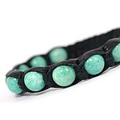 Украшения handmade. Livemaster - original item Shamballa bracelet made of leather with amazonite. Handmade.