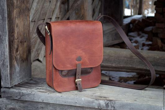 Мужские сумки ручной работы. Ярмарка Мастеров - ручная работа. Купить Мужская сумка Кожа А4,  через плечо, под планшет, рыжая. Handmade.
